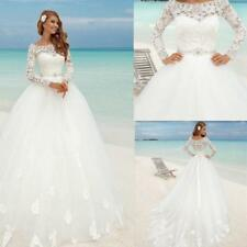 Princess Lace Bridal Ball Gowns Modest Country Muslim Long Sleeves Wedding Dress