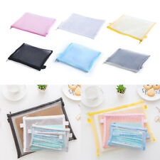 Clear Exam Pencil Case Transparent Simple Mesh Zipper Stationery Bag School.