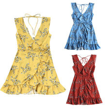 Ladies Sleeveless Ruffled Belt Floral Print Dress S-L Plunging Neck Mini Dress