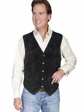 Scully Leather Mens Western Lambskin Snap Front Vest Black
