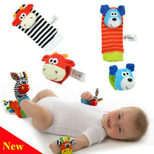 4 pcs Baby Infant Toy Soft Hand Wrist Strap Rattles Animal Baby Socks Finders
