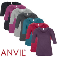 ANVIL LADIES SCOOP NECK TOP 1/2 SLEEVE SMART T-SHIRT PLAIN SEMI FITTED XS-2XL