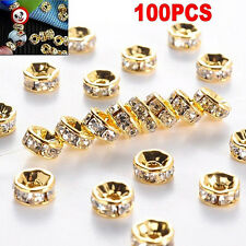 100pcs Silver Gold Crystal Rhinestone Rondelle Spacer Beads DIY 6mm 8mm BH