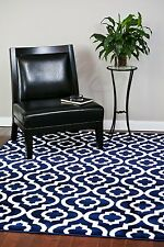 RUG AREA RUGS CARPET FLOORING 3028 NAVY MOROCCAN TRELLIS AREA RUG LARGE SALE NEW