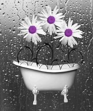 Purple Bathroom Wall Art, Daisy Flowers Home Decor Wall Art Matted Picture