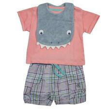 Boys Shorts T-Shirt Bib Outfit 3 Piece Shark Set Newborn Baby to 12 Months