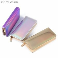 Hologram Zipper Clutch Wallet Women Long Wallets Money Purse Female Slim Wallet