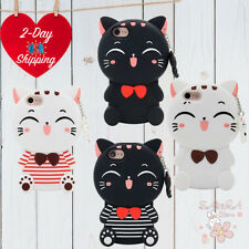 iPhone 7 7Plus Case Cute 3D Cartoon Cat Lucky Fortune Cat Kitty Soft Rubber Case