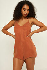 New THRILLS Womens Freeman Playsuit Rust Leather