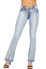 Womens Bootcut Denim Hipster Jeans New Ladies Flared Stretch Pocket Faded Pants