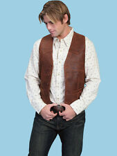 Scully Mens Western Vest in Distressed Brown Leather 503 - 60 NWT