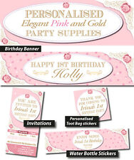 Personalised Elegant Pink and Gold Girls Birthday Party Banner Decorations