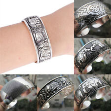 Tibetan Silver Plated Elephant Tibet Totem Bangle Jewelry Cuff Wide Bracelet BH
