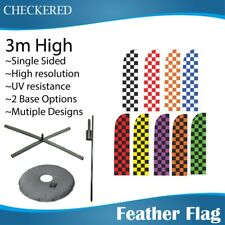 3m Outdoor CHECKERED Feather Banners Feather Flag with Base