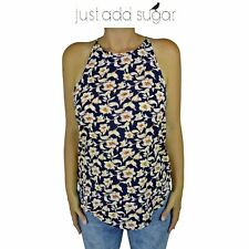 Just Add Sugar Hiker Cami Sleeveless Top Floral Special Occasion Navy Blouse