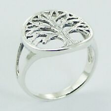 Silver ring 925 sterling round antiqued silver Tree of Life  6us 7us 8us 9us