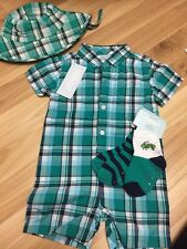 NWT Gymboree Baby Boy Blue Green Plaid Bug Insect Romper hat outfit SET 6 9 12