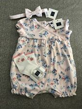 NWT Janie and Jack one-piece pink floral romper butterfly socks SET 3 6 months
