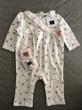 NWT Janie and Jack baby girl pink floral romper SPRING one-piece socks SET 0 3 6