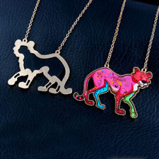 New Women Acrylic Crystal Leopard Animal Pendant Sweater Animal  Necklace Chain