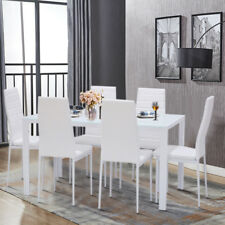 Glass Dining Table and 4/6 Faux Leather Chairs 4 or 6 Seater Dining Set Kitchen