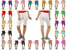 New Womens Plus Size Plain Elasticated Knee Ladies Stretch Cycling Shorts 8-26