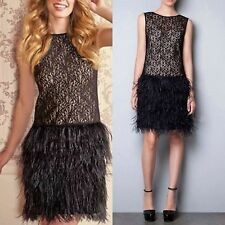 Zara Cocktail Black Lace Dress with Feather Skirt Bloggers Sold Out XS S Small