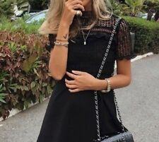ZARA New Black Lace Guipure Crochet Mini Dress Bloggers Sold Out 4437/254 M