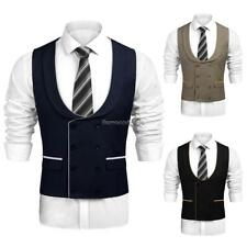 Men Casual Double-Breasted Waistcoat Business Suit Vest FF