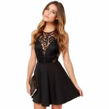 Women Black Color Lace Draped Sleeveless Back Hollow Out Gown Party Dress