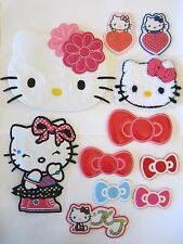 Hello Kitty XL Head Sporty Outfit Bow Tie Iron On Sewing Patch Applique, NEW