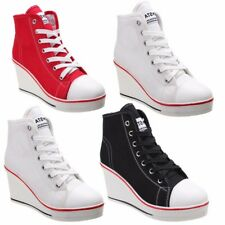 Women Canvas High Heel Top Wedge Platform Heel Lace Up Shoes Sneakers Fashion