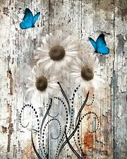 Rustic Wall Art, Daisy Flowers, Butterflies Brown Blue Home Decor Matted Picture