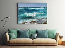Framed Canvas Stretched Print Waves Ocean Seascape Nature Shore