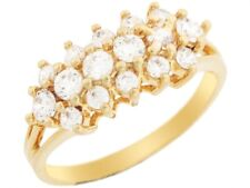 10k or 14k Yellow Gold Round Cut CZ Elegant Cluster Anniversary Ring