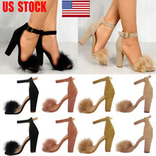 UK Women Block High Heel Sandals Ankle Strap Peep Toe Party Club Prom Shoes Size