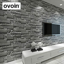 Modern 3D stone wallpaper roll grey brick wall background living room wall paper