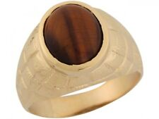 10k or 14k Yellow Gold Synthetic Tigers Eye Checkerboard Band Mens Ring