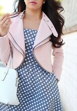 ZARA pastel pink cropped jacket blazer with zips Sold out new Bloggers M L
