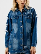 Womens Stone Wash Blue Longline Ripped Distressed Denim Oversized Biker Jacket