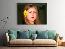 Framed Canvas Stretched Print Girl Portrait Flower Yellow Beauty