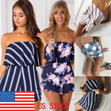 Women's Sexy Off Shoulder Ruffle Strapless Floral Rompers Beach Short Jumpsuits