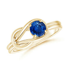 Natural Solitaire Blue Sapphire Infinity Knot Ring 14K Yellow Gold Size 3-13