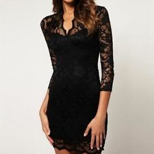 Women  V-neck 3/4 Sleeve Hollow Out Slim Fit Lace Mini Bodycon Dress