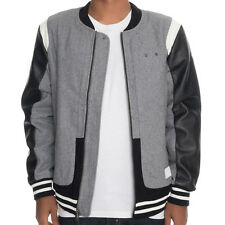 Crooks & Castles The Challenger Varsity Jacket in Heather Gray & Black Size L