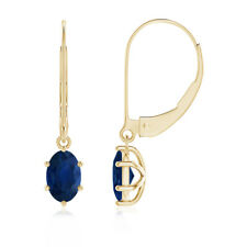 Leverback Prong Set Oval Natural Blue Sapphire Drop Earrings in 14k Yellow Gold