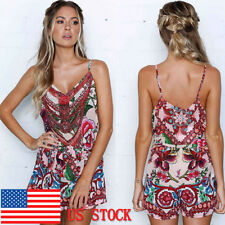 Women's Summer Retro Boho Floral Backless Spaghetti Strap Beach Jumpsuit Romper