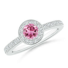Round Natural Pink Tourmaline Diamond Halo Engagement Ring 14k Gold/ Platinum