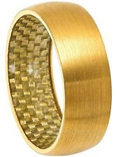 Dome Tungsten Wedding Band Yellow Gold Plated Comfort Fit Mens Tungsten Ring 8MM