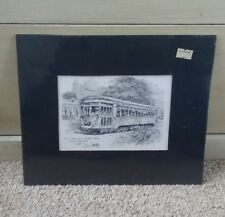 St Charles Street Car Don Davey New Orleans Matted Art Print  1976, 10.5x 9